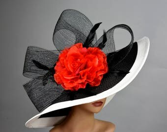Black White Strips Red Woman Party Hat Kentucky Derby Hat Tea Hat Wedding Accessory Cocktail Party Hat Church Hat