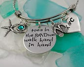 We Walk Hand in Hand Toes In the Sand Bracelet Custom - Beach Honeymoon Vacation - Men Groom Bride Fiance Valentine's Day