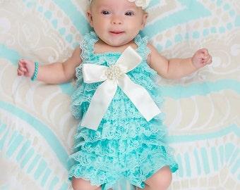 Aqua Lace Romper/Petti Romper Set/Lace Romper/Baby Petti Romper/Newborn Petti Romper/Baby Romper for Girls/Lace Romper/Photo Prop Baby