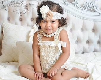 Ivory Girl Lace Romper Set - Baby Romper - Lace Petti Romper - Petti Lace Romper - 1st Birthday Outfit - Baby Lace Romper - Newborn Romper
