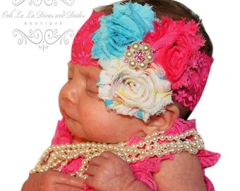 Party Dot Headband/Birthday Headband/Toddler Headband/Girl Headband/Newborn Headband/Baby Headband/Photo Prop/Pink Headband/Infant Headband