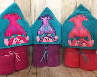 """Princess Troll Applique Hooded Bath Towel, beach Cover Up 30"""" x 54""""  Personalization Available"""