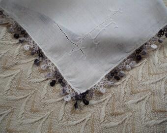 Vintage Ladies' Lace Handkerchief Hand Tatted Edge Wedding Hankie