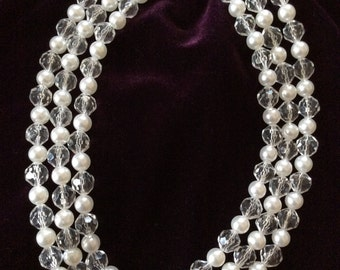 Vintage 3 Strand Beaded Necklace *  White Pearl and Crystal Clear Beads
