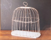 Reserved - Vintage Chippy White Bird Cage, Shabby Chic