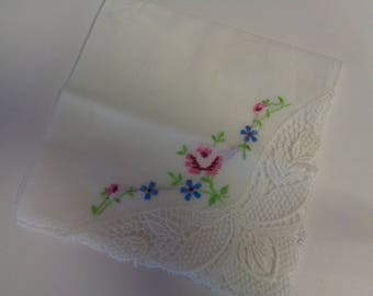 Vintage Hankerchief Embroidered Roses Handkerchief - 1960's