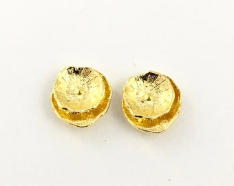 1 pair (2 pieces) lotus earring post,gold color with back stopper  16mm #FIN E 051