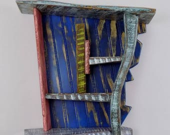 Shelf - One of a kind - Reclaimed wood - Wall hanging - Home decor - Cabinet - Abstract - Furniture