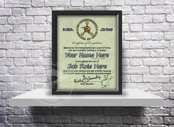 CUSTOM Rick and Morty inspired Council of Ricks acceptance certificate - Choose Inserts, Size, and Frame