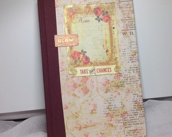 Handmade floral hard backed plain paper notebook A5