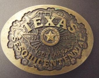 Bronze Belt Buckle, Texas Sesquicentennia, Blue Bayou Beass, Houston Texas Buckle
