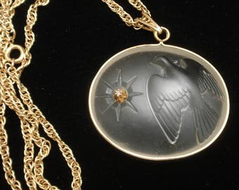 Dove Peace Carved Glass Pendant Necklace