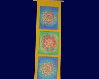 Batik Mandala Tapestry, 3 Panal Flower Wall Hanging, Trippy Tie Dye Art