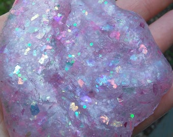 Crystal Glitter Slime Pink Purple Opal Holographic Iridescent Unicorn Shimmer Metallic Sparkle galaxy Gem Gemstone party favor birthday gift