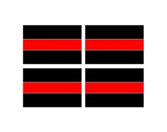 "Thin RED Line Decal - Sheet of 4 - Firefighter - 3"" x 2"" Full Color Printed Vinyl Stickers - Hard Hat - Helmet - Phone - Laptop - Etc."