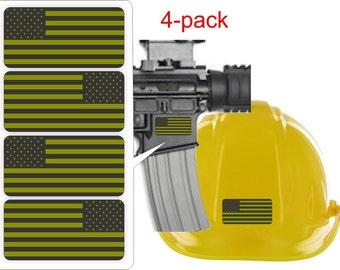 """2 Pair - American Flags Black Ops OD Green - 2"""" x 1"""" Full Color Printed Vinyl Stickers - Hard Hat - Helmet - Phone - Laptop - Etc."""