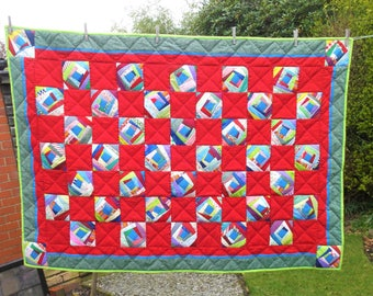 Unique Large Lap Quilt Patchwork & Hand Quilted Snooze Rug. Crazy Patchwork design Colourful Throw Quilt Single Bed Topper Picnic Blanket