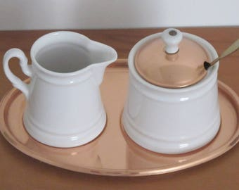 Vintage 1980s The Cook's Bazaar White Porcelain and Copper Creamer and Sugar Bowl with Lid and Spoon Set Great Kitchen Gift Set