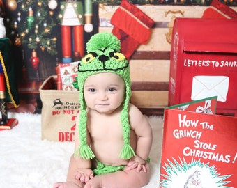 The Grinch -Christmas Baby Crochet Hat and Diaper Cover.