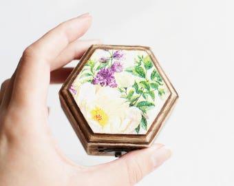 Wedding Ring Box, Engagement Ring Box, Rustic Ring Box, Floral Ring Bearer, Ring Holder, Proposal Ring Box, Bohemian Ring Box, Floral Box