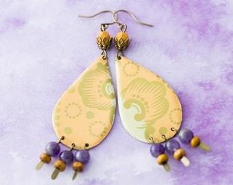 Peach and Purple Large Teardrop Earrings with Bohemian Pattern, Amethyst Earrings, Boho Chic Earrings, Boho Jewelry, Tear Drop Earrings