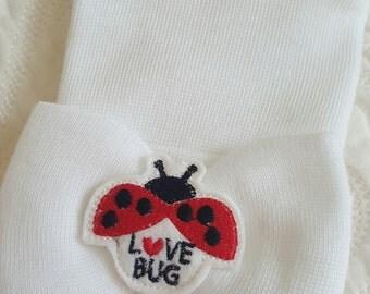 Ladybug White Hospital Newborn Beanie, Love Bug, Newborn's First Bow!