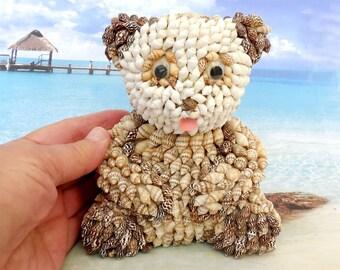 Seashell Animal, Sea Shell Bear, Seashell Teddy Bear Figurine, Vintage Shell Art, Beach Bear, Seashell Folk Art, Beach House Decor