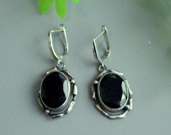 Black spinel earrings , spinel earrings, silver earrings, sterling earrings, big earrings,spinel silver, black, spinel