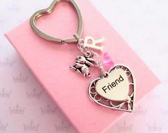 Friendship keyring - Cute bunny keychain - Rabbit keyring for friend - Friend Birthday gift - Bunny keyring - Friend gift - Stocking filler