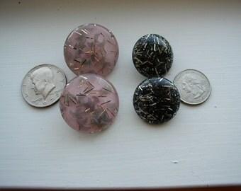2 Pair Vintage Lucite Confetti Clip Back  Earrings