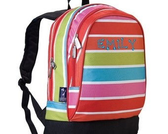 Personalized Bright Stripes Sidekick Backpack by Wildkin Monogrammed Embroidered