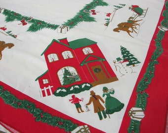 1970s Christmas Tablecloth Mid Century Tablecloth  Holly Tablecloth Green Red
