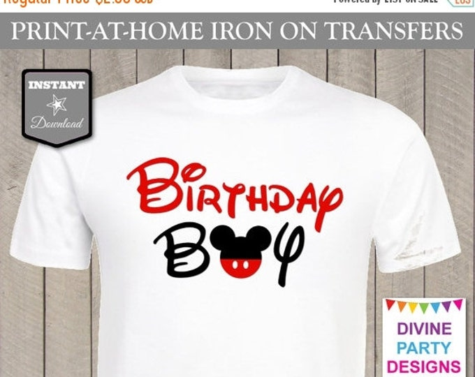 SALE INSTANT DOWNLOAD Print at Home Mouse Birthday Boy Iron On Transfer / Printable / T-shirt / Item #2300