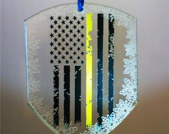 Limited Edition Shield Shape American Thin Gold Line Flag Collectors Shield Crystal Ornament SKU: ORN125