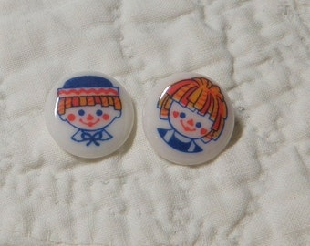 Raggedy Ann and Andy Buttons Famous Pair Doll Buttons