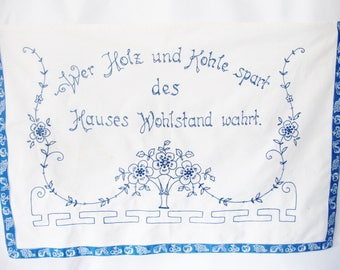 EMBROIDERED WALL HANGING, Austrian, Viennese, Art Nouveau,  Wood and Coal, Kohle, saving Energy. 1930s, Rhyme