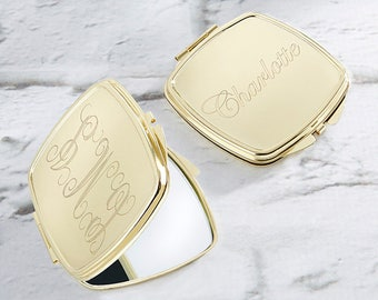 Engraved Compact Mirror Favor, Gold Compact Mirror Favors, Bridal Shower Favors, Bridesmaids Gifts, Personalized Compact (18128GD-EG)