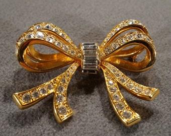 Vintage Art Deco Style Yellow Gold Tone Rhinestone Bow Design Glass Stone Pin Brooch Jewelry -K#26