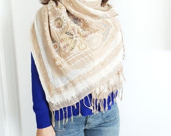 Wool Scarf Cream Scarf Embroidery Scarf Winter Scarf Unique Scarf Women Scarf Women Fashion Gift for Her Oversized Scarf Handmade Scarf