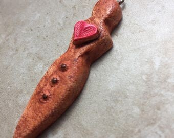 Goddess focal bead pendant, terracottta, with heart and strength message