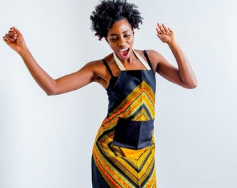 Apron - African Print Apron - Kitchen Apron - African Fabric Apron - Womens Apron - Mens Apron - Dining - Black And Orange Diamond