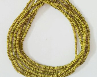 3 40-Inch Strands, African Waist Beads Belly Jewelry, Yellow, Bracelets Necklace Anklet