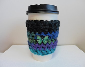 Take Out Coffee Cup Sleeve Take Out Coffee Cup Cozy Crocheted Take Out Coffee Cup Sleeve Cozy Blue Coffee Cup Sleeve Hand Made