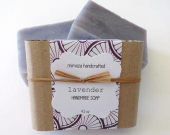 Handmade Lavender Soap, Cold Process Soap, Vegan Soap 4.5oz