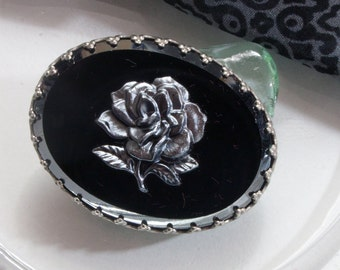 Vintage brooch, glass, rose, 30s, 40s