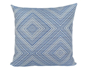 Indoor/Outdoor Tortola Marine designer pillow cover - Schumacher - Made to Order - Choose Your Size