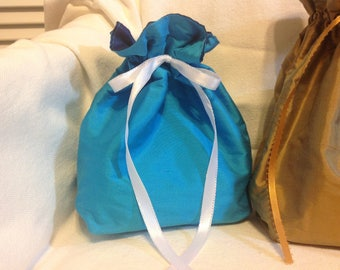 Turquoise and Deep Blue Silk Reversible Gift Bag