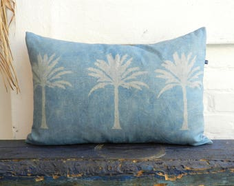 Katazome Palm Tree Pillow dusty Blue Urban Jungle Cushion german vintage Linen Sand Oatmeal 40x60 cm 16x24 inches