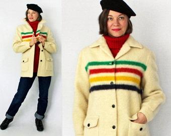 Hudson Bay Coat / Blanket Coat / Wool Coat / 4 Stripe Blanket Coat / 50's Hudson's Bay Jacket / Cream Wool Jacket / Winter Coat / B40