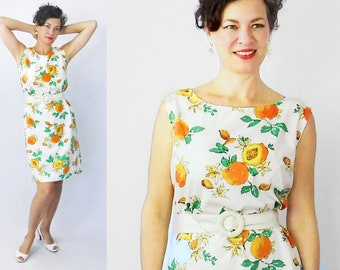 1960s Shift Dress / 60s Shift Dress / Novelty Print Dress / Peach Print Dress / 1960s Day Dress / 60s Day Dress / XL Dress / Bust up to 42""
